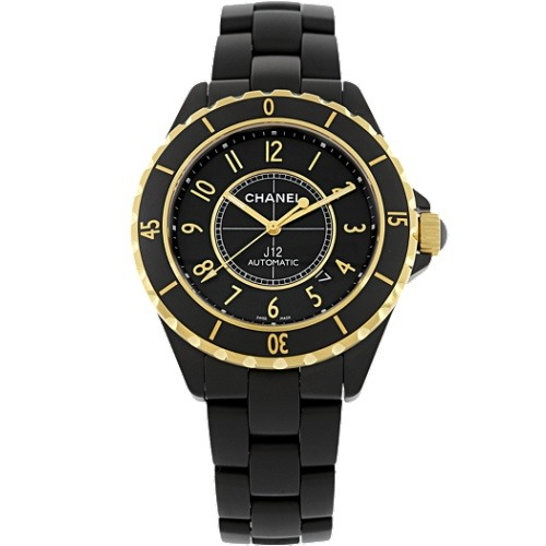 Chanel 18k yellow gold black cermic men's watch