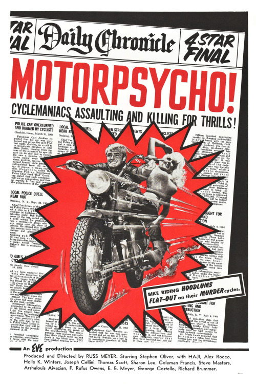 Motorpsycho! movie poster, 1965 Source: Trashy Movie Posters