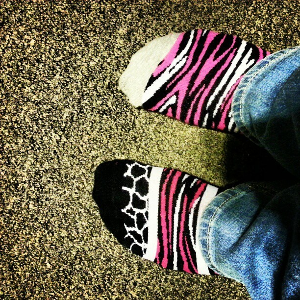 #todayssocks #socks #socksoftheday #mismatch #mismatchsocks #mismatchedsocks #mixnmatch #feet #myfeet #mysocks #target #animalprint #zebraprint #pink #pinkandblack  (Taken with Instagram)