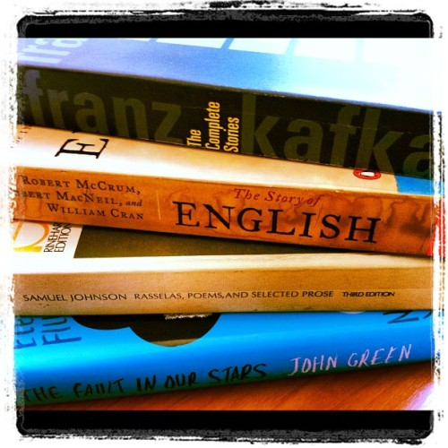 Excited to start #reading. Bought way too many #books yesterday (8). #johngreen  #kafka #Samueljohnson #english (Taken with Instagram)