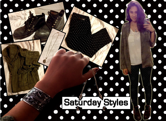 "This week's Saturday Styles was an outfit that I just need to throw together Friday morning because I was late for school and when I got to work later, got a lot of complements on.   I've found that most outfits that I just ""throw together"" seem to be the best ones.   Happy Saturday, and until next week. (2009 Long Sleeve Wilson in Forest Green by Hurley; Black Zip and Lace up Ankle Boots by Harley; 81 Skinny Girl Legging by Hurley ($51.50); Silver Skull Locket by BirdzNbeez ($26); bracelet and rings from my sister's closet)"