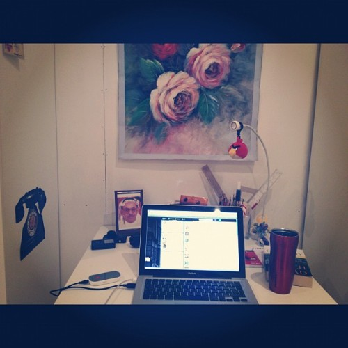 Good morning from messy desk 😊#good_morning #coffee #messy #desk #life #kuwait  (Taken with Instagram)