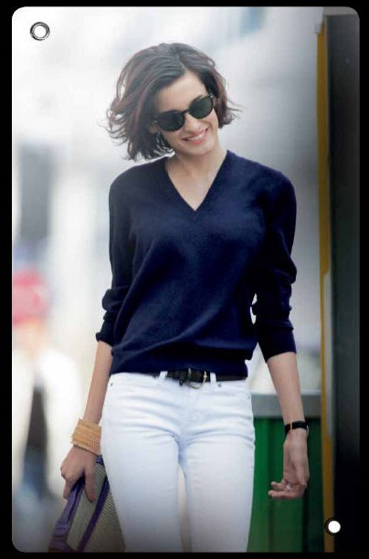 Classic navy and white as worn by Nine d'Urso (daughter of Inès de La Fressange)  (photo via keepitchic.com)