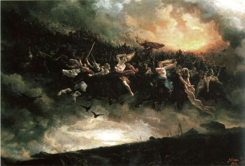 "bloodyapril1917:  Åsgårdsreien (1872) by Peter Nicolai Arbo The Wild Hunt is an ancient folk myth prevalent across Northern, Western and Central Europe.  The fundamental premise in all instances is the same: a phantasmal, spectral group of huntsmen with the accoutrements of hunting, with horses and hounds in mad pursuit across the skies or along the ground, or just above it. The hunters may be the dead or the fairies (often in folklore connected with the dead).  The hunter may be an unidentified lost soul, a deity or spirit of either gender, or may be a historical or legendary figure like Theodoric the Great, the Danish king Valdemar Atterdag, the Welsh psychopomp Gwyn ap Nudd or the Germanic Woden (or other reflections of the same god, such as Alemannic Wuodan in Wuotis Heer (""Wuodan's Army"") of Central Switzerland, Swabia etc.) Seeing the Wild Hunt was thought to presage some catastrophe such as war or plague, or at best the death of the one who witnessed it. Mortals getting in the path of or following the Hunt could be kidnapped and brought to the land of the dead. A girl who saw Wild Edric's Ride was warned by her father to put her apron over her head to avoid the sight.Others believed that people's spirits could be pulled away during their sleep to join the cavalcade."