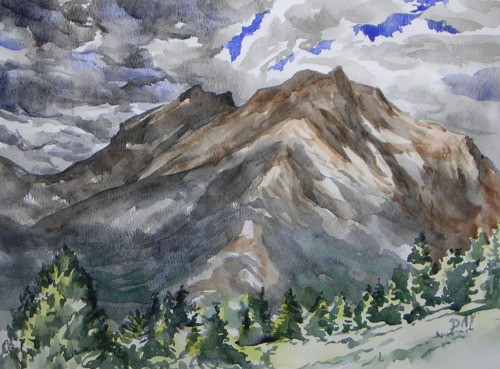 Longs Peak and Mt Meeker, watercolor, August 2012