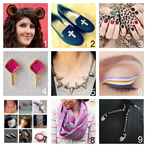 Roundup Nine DIY Jewelry, Beauty, Accessories and Fashion Tutorials PART TWO. Roundup of this past week. October 7th - October 13th, 2012. *For past roundups go here: trebluemeandyou.tumblr.com/tagged/roundup Halloween Animal Ear Hair Clips Tutorial and PDF Pattern from Gleeful Things here. viahalloweencrafts  Cross Studded Shoes Tutorial from Wobisobi here.  Jewel Tone Nail Art Tutorial from …Love Maegan here. Chain Wrapped Button Earrings Tutorial from High on DIY here. Spike Necklace Tutorial from Trinkets in Bloom here. Rainbow Striped Eye Makeup Tutorial from The Beauty Department here. via halloweencrafts Roundup of a few of my favorite Spike Jewelry Tutorials I've Posted here. His and Her Flannel Scarves Tutorial from In Honor of Design here. DIY Easy Skeleton Tights from Panda Head here. via halloweencrafts