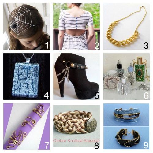 Roundup Nine DIY Jewelry, Accessories and Fashion Tutorials PART THREE. Roundup of this past week. October 7th - October 13th, 2012. *For past roundups go here: trebluemeandyou.tumblr.com/tagged/roundup Halloween Spiderweb Fascinator from The Paper Fairy here. Mens Tee to Cut Out Back with Buttons Shirt Tutorial from Cotton & Curls here.  Five Minute Gold Chain Necklace Tutorial from Thanks, I Made it here. via thanksimadeit Crackle and Glitter Nail PolishTutorial from Sweeter Lemon here. Boot Chains with Studded Leather Straps Tutorial from Acid Dreams and Sugar Highs here. via aciddreamsandsugarhighs Wire Wrapped Recycled Perfume Bottle Pendants Tutorial from My Salvaged Treasures here. Wire Wrap Ring Tutorials from Jewelry Making Journal here. *Really good fund raising idea - see post for economics of making rings. Chinese Cord Knotted Bracelet Tutorial from remarkably domestic here.  DIY Five Zipper Bracelets Tutorials from Brit + Co here.