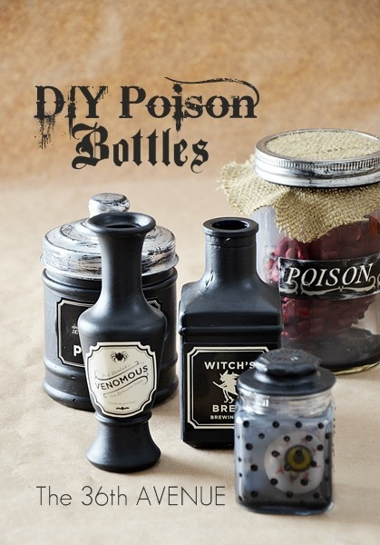 scissorsandthread:  Poison Bottle Printables | The 36th Avenue There are a ton of poison bottle printables available but I like this one because it's also a DIY on how to create the bottles too. I particularly like the 'venomous' label!