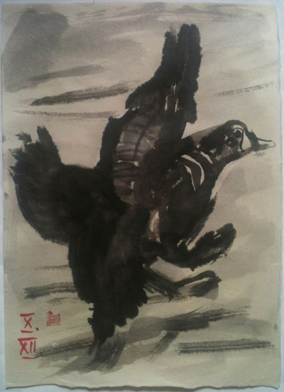 landing harlequin duck, ink wash on Japanese paper (bunko shi) 33x45cm, Oct/2012 #berndblacha on Flickr.