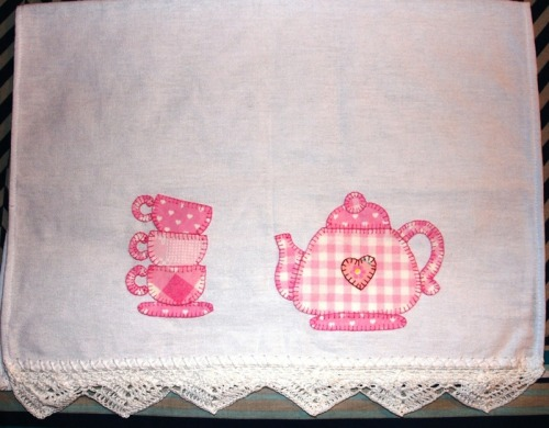 teapot and teacups applique