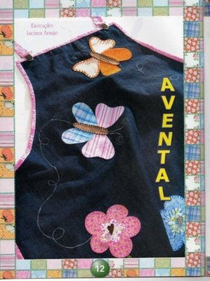 apron with butterfly and flower appliques