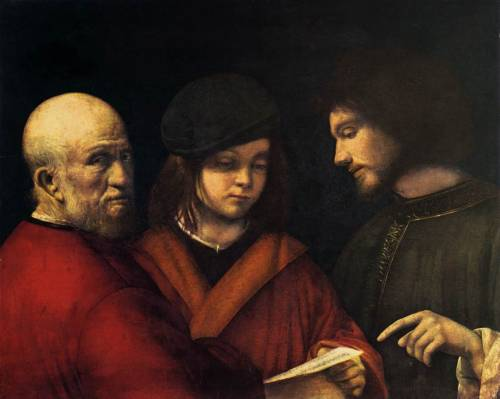 GiorgioneTre età dell'uomo / The Three Ages of Man c. 1500-01 oil on canvas 62×77 cm Galleria palatina, Palazzo Pitti, Firenze