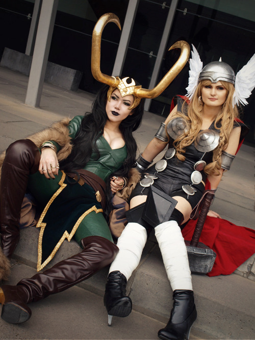 deconsecrator:  exhausted from this weekend's con! Jane as earth-X lady Thor & myself as lady Loki ♥