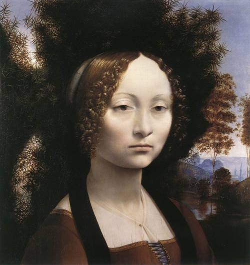 Leonardo da VinciGinevra de' Benci c. 1474 oil on panel 38.1 cm × 37 cm National Gallery of Art, Washington, D.C.