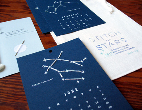 Stitched constellation calendar