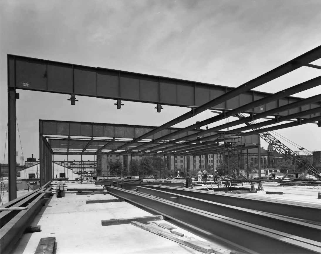 Mies van der Rohe's Crown Hall under construction, Chicago