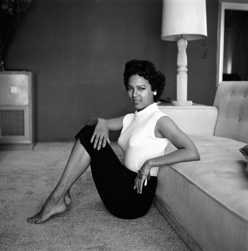 theniftyfifties:  Dorothy Dandridge at home, 1954. Photo by Allan Grant.