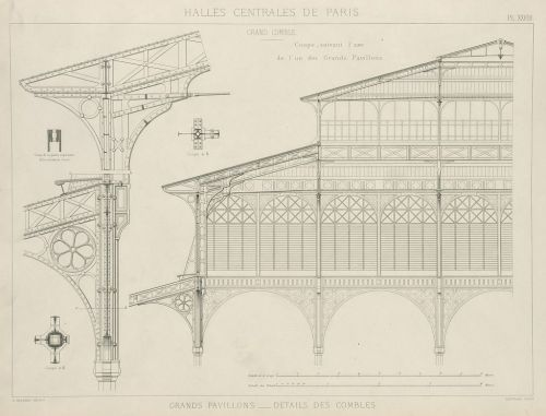 archimaps:  Construction drawings for Baltard's Halles Centrales, Paris