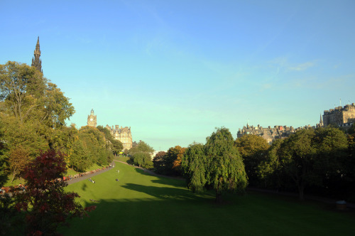 Autumnal sunbathing, Princes Street Gardens, Edinburgh
