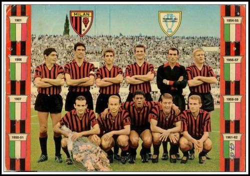 footysphere:  Tumblr of the week Vintage Football Teams. Here's the AC Milan side that won the European Cup in 1963.