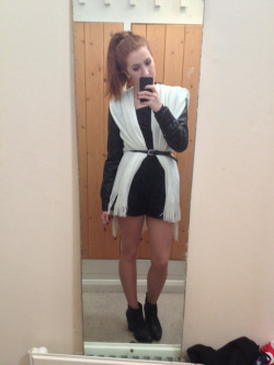 What I wore today Topshop black watch tartan playsuit, leather and knit jacket by Rosie Louise Jones, vintage black belt, Chelsea boots from Birmingham rag market
