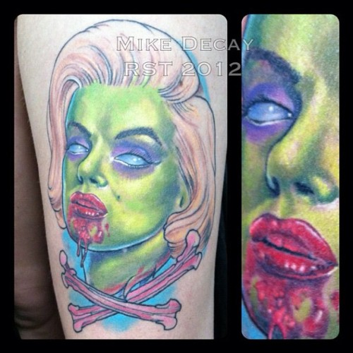 Healed** Marilyn monroe zombie portrait from a few weeks back. #tattoo #marilynmonroe #zombie #healedtattoo #blood #mikedecay #providence #rhodeisland #richmondsttattoo  (Taken with Instagram)