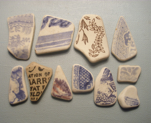"poemsfromthethames:  Beach pottery, one fragment with text reading ""ATION OF / ARR / FAT / LD"" (location unknown). (Source)"