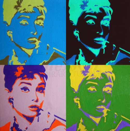 """Audrey Warhol"" by soirart. Acrylic on canvas board. For my darling mother. <3 ""I don't want to be alone, I want to be left alone."""