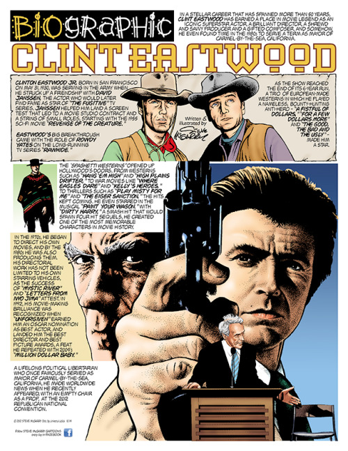 stevemcgarrycartoons:  Clint Eastwood in Steve McGarry's Biographic newspaper comic strip!