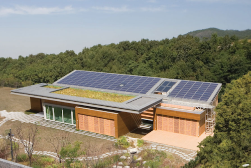 Solar panels? Green roof? Grey water recycling? This zero energy home has been touted as South Korea's most sustainable.