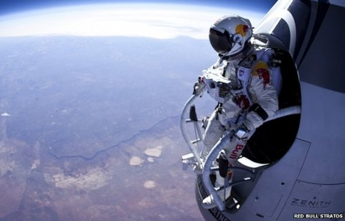 sciencecenter:  Felix Bumgartner is about to freefall faster than any human ever has He's already about a half hour into the ascent; he's scheduled to jump around 1:45 pm EST. You should definitely check out the live stream here. In case you haven't been following the mission, Red Bull Stratos is an attempt to jump from a specially designed balloon from 120,000 feet above the Earth's surface. In the course of returning to Earth, Felix will accelerate to speeds greater than Mach 1 - the speed of sound! If you're interested, be sure to read more about the project.