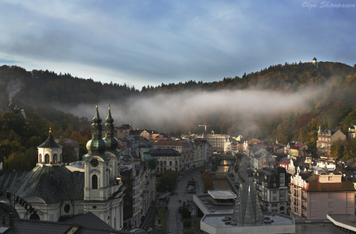 """ Karlovy Vary#5"" by Olga Shiropaeva Karlovy Vary is a spa city situated in western Bohemia, Czech Republic, on the confluence of the rivers Ohře and Teplá."