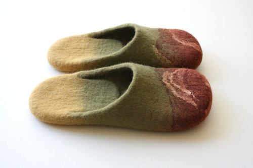 "superawesomeshop:  Felted wool slippers by Onstail in Oxford, UK. ""These slippers I recommend wear barefoot, then you can relax and soft massage your feet after hard working day. Felted slippers are made using hot water and organic soap - one of the most sustainable processes in textile."""