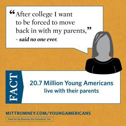 "mittromney:  We cannot afford four more years of broken promises.   ""Totes cool!"" said the 35-year-old ad design person who made this."