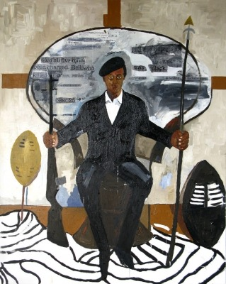 Huey Newton, Henry Taylor, 2007 Acrylic on canvas. 95.125 x 76.25 inches.