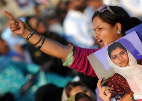 Thousands rally in Karachi for Malala, 14-year-old Pakistani girl shot by Taliban (Photo: Rizwan Tabassum / AFP - Getty Images) KARACHI, Pakistan — Tens of thousands rallied in Pakistan's largest city Sunday in support of a 14-year-old girl who was shot and critically wounded by the Taliban for promoting girls' education and criticizing the militant group.   The demonstration in the southern city of Karachi was by far the largest since Malala Yousufzai and two of her classmates were shot on Oct. 9 while returning home from school in Pakistan's northwest.   Read the complete story.