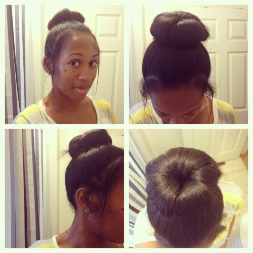 Rainy Days = The High Messy Bun! I am counting down the days to where I can wear my curls again.  That day is coming soon, so I will stop complaining and just deal.  However, finding other styles while my hair is straight is what is bothering me.  I get easily bored with my hair so straight hair is definitely not for me (at least long term).  Anyway, because the weather is pretty humid today I decided to try the messy hair bun that I found on YouTube by Macbarbie07, which can be viewed here.  I wear high buns often but never tried this method.  Macbarbie07's tutorial is best for straight hair, but I like LOVE Shanti's method from a Around the Way Curls which can be viewed here.  I like messy hair because it isn't perfect, but just IS.  Now if I could perfect the just-out-of-bed look I would be a happy camper. Note: I did not to tease my hair as Macbarbie07 did in her video.  I took about 5-6 individual hair pieces and rolled with my fingers and pinned each curl.  Pretty quick and easy and also a great way to hide the frizz!  I pulled strands out at my temples, left those pieces straight, and pulled pieces out by my ears and coiled them.  It took less than 5 minutes. Quick easy, and a time saver! Living Simplistically!