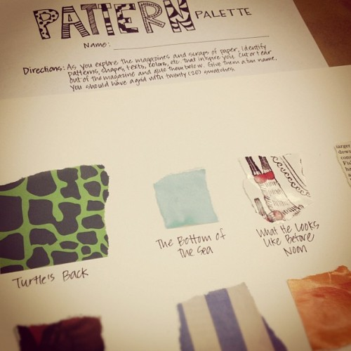 Class #1: Pattern Palettes — After exploring the Mickalene Thomas Origin of the Universe exhibit and photographing attractive patterns, youth artists looked through magazines to create a 20 swatch pattern palette. Youth artists identified patterns and named these patterns.