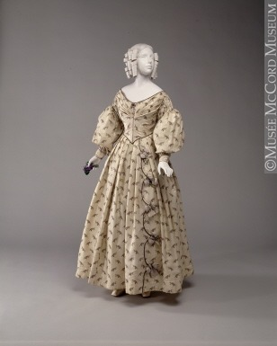 Women's dress from the late 1830s to the early 1840s. McCord Museum. Accession Number: M976.2.3