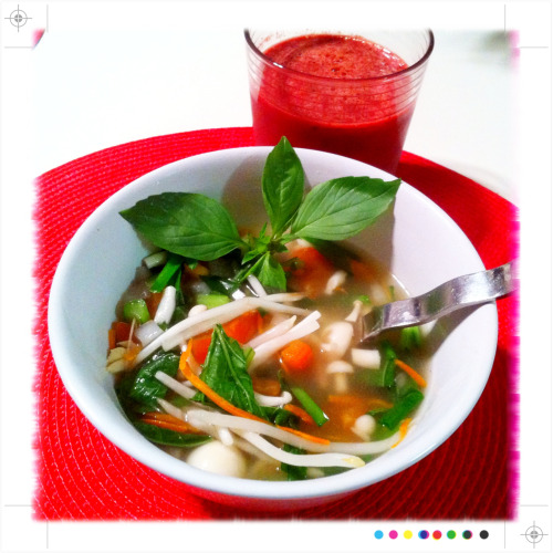 "Vegan ""chicken"" pho!  This is the ultimate winter feel good soup and pretty easy to make.  Add some freshly juiced fruits and vegetables on the side and this is a health boost powerhouse."