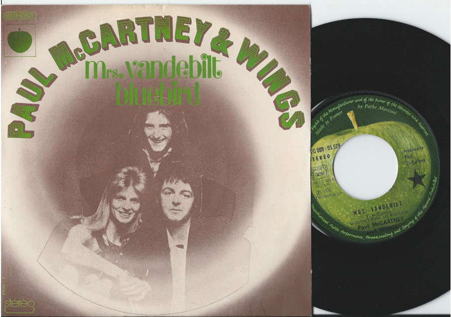 "Paul McCartney & Wings ""Ms. Vandebilt"" / ""Bluebird"" Single - Apple Records, France (1973)."