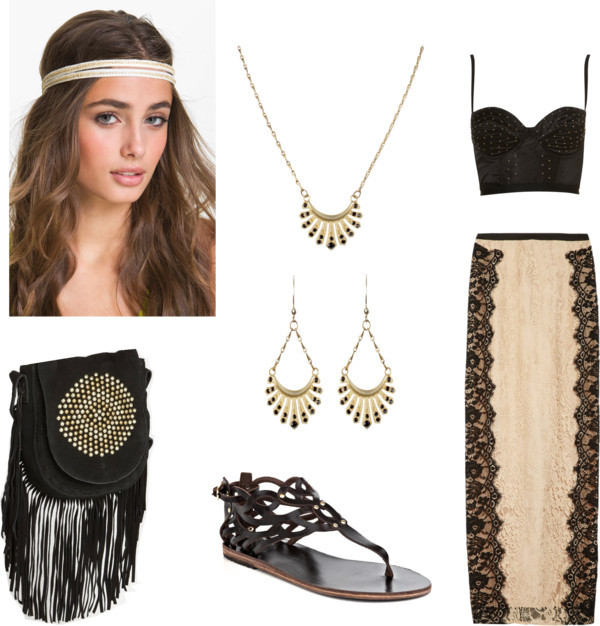 Boho Indie simple by xoninaxo featuring rhinestone hair accessories