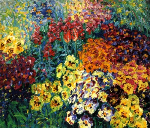 reading-as-breathing: 1908 Emil Nolde (German, 1867-1956) ~ Flower Garden, Pansies