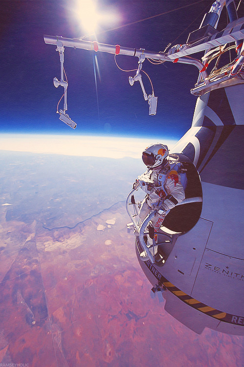 Felix Baumgartner just jumped from space. 128,000 feet, nearly 40 miles. I'm speechless. Amazing.