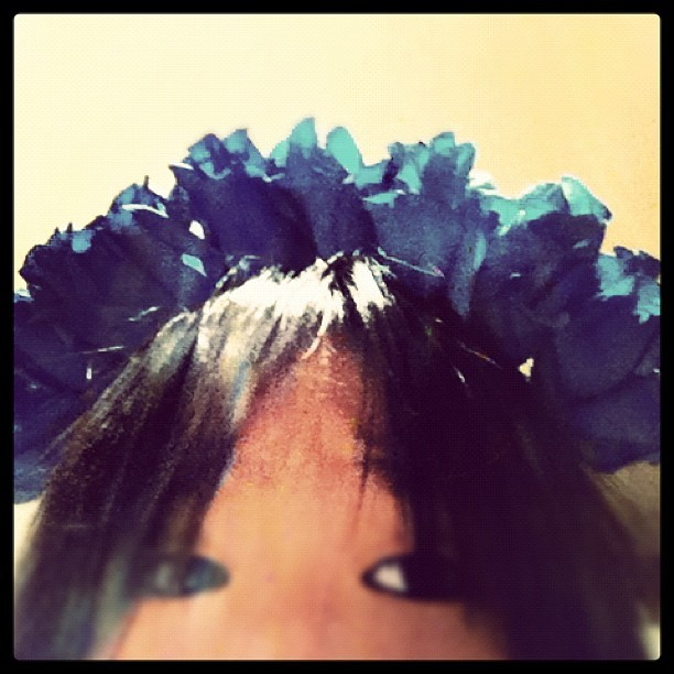 Made a floral crown out of blue roses.. Only to realise its impracticality.. #cry (Taken with Instagram)