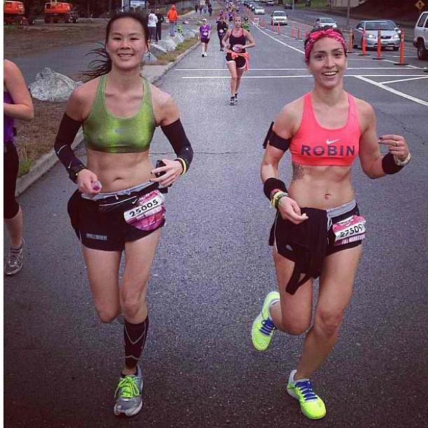 @ceejjoe rocked her first marathon! Couldn't have chosen a better chica to cross the finish with. @bridgerunners  (Taken with Instagram)