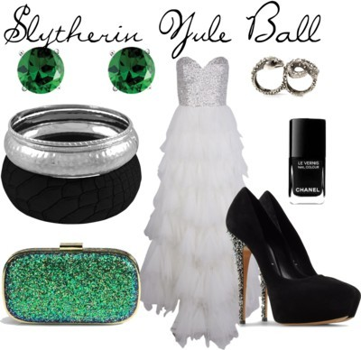 Slytherin Yule Ball by rachellio featuring a glitter clutch purse