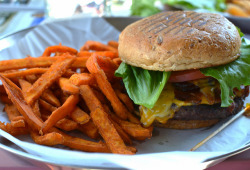 Bacon Cheeseburger with Sweet Potato Fries