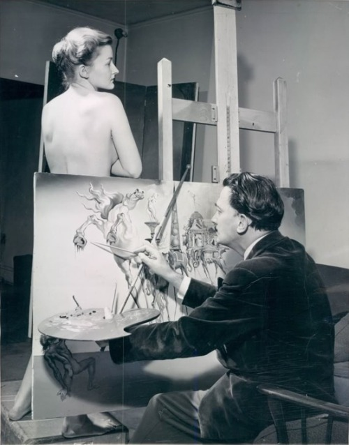 45-caliber-grammar:  Salvador Dali painting 'The Temptation of Saint Anthony'