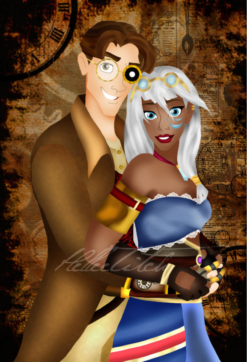 Steampunk Kida and Milo by ~HelleeTitch